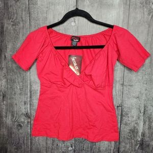 Red lowcut top